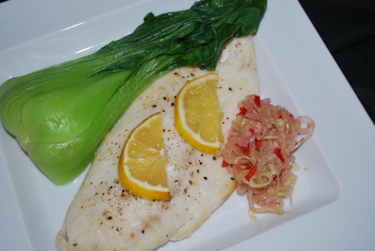 Parchment Baked Fish with Steamed Baby Bok Choy and Sambal Matah