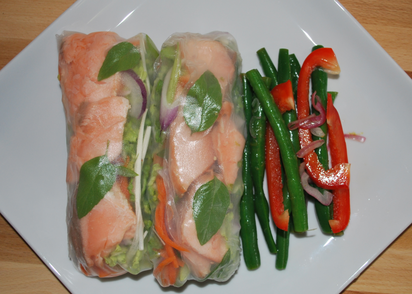 Vietnamese Salmon Rolls with Green Bean and Red Pepper Salad