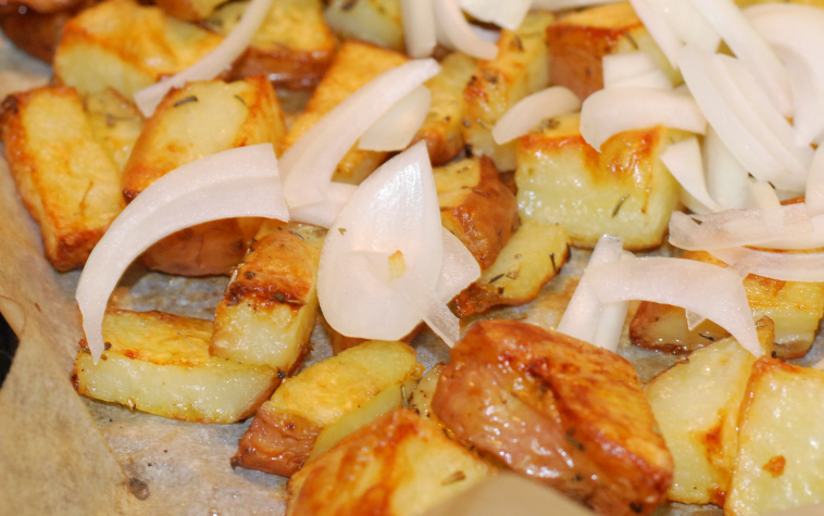 Oven Roasted Potatoes with Thyme and Onions ~ Living the Savory Life