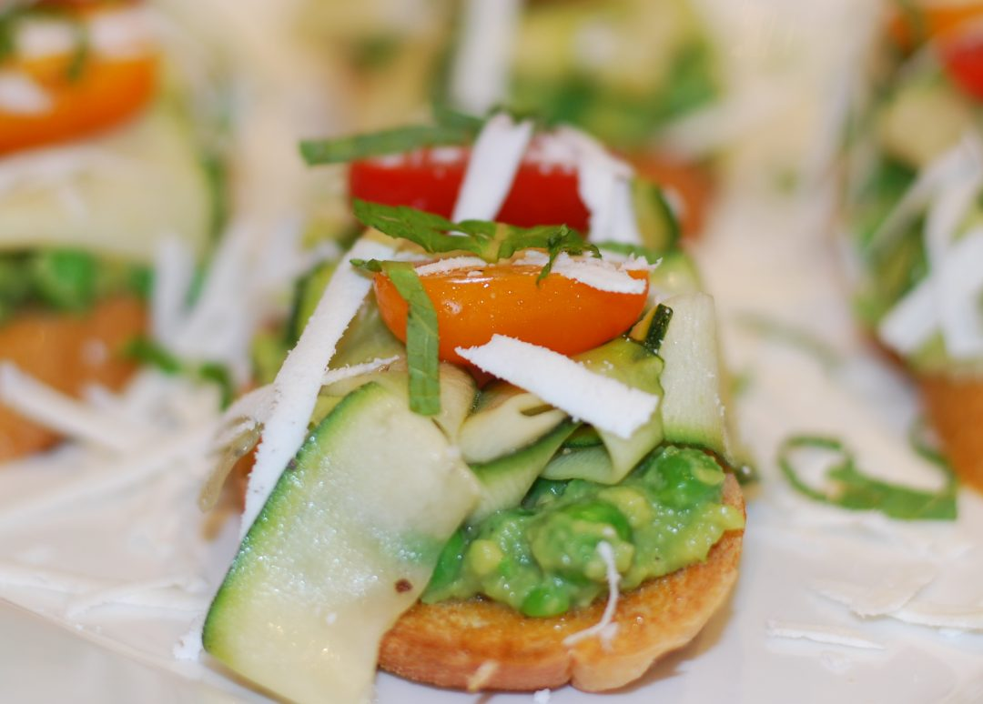 Pea and Avocado Crostini with Zucchini and Tomatoes ~ Living the Savory Life